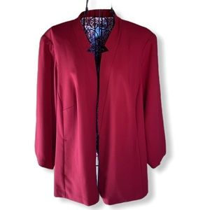 CJ Banks Lined Open Front Blazer Red Size 1X